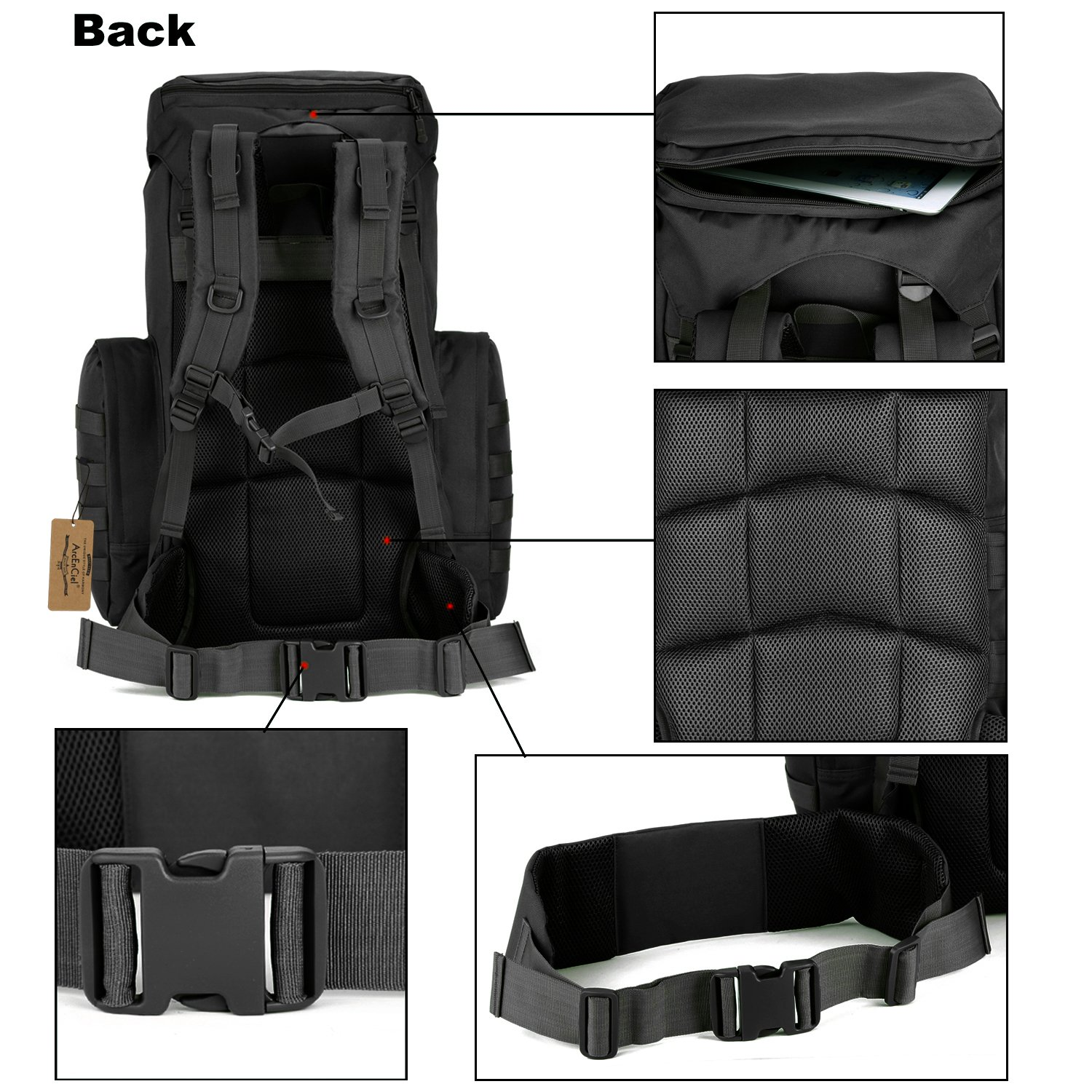 ArcEnCiel 70-85L Large Capacity Tactical Travel Backpack MOLLE Rucksack Outdoor Travel Bag for Travelling Trekking Camping Hiking Hunting -Rain Cover Included (Black) by ArcEnCiel (Image #3)
