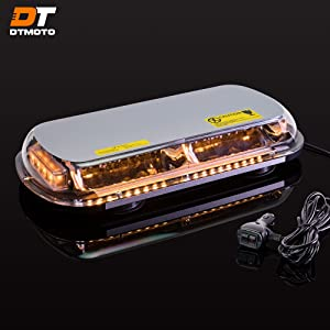 "16"" 132-Watt LED Mini Light Bar w/ 8 Modes, IP66 Waterproof and Magnetic Mount - Amber Warning Strobe Light Bars for Hazard, Emergency, Snow Plow Vehicles"