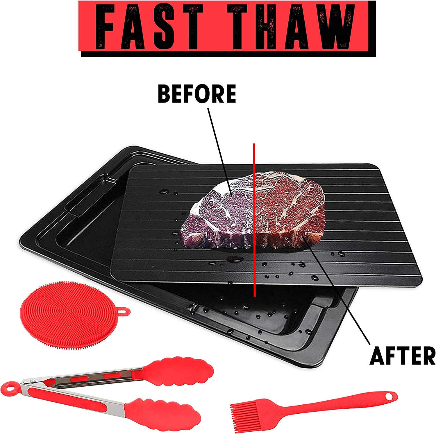 Defrosting Tray For Rapid Thawing Frozen Food - FROST-NO Defrost Meat Thaw Tray With Silicone Sponge And Brush - Defroster Plate with Plastic Drip Tray