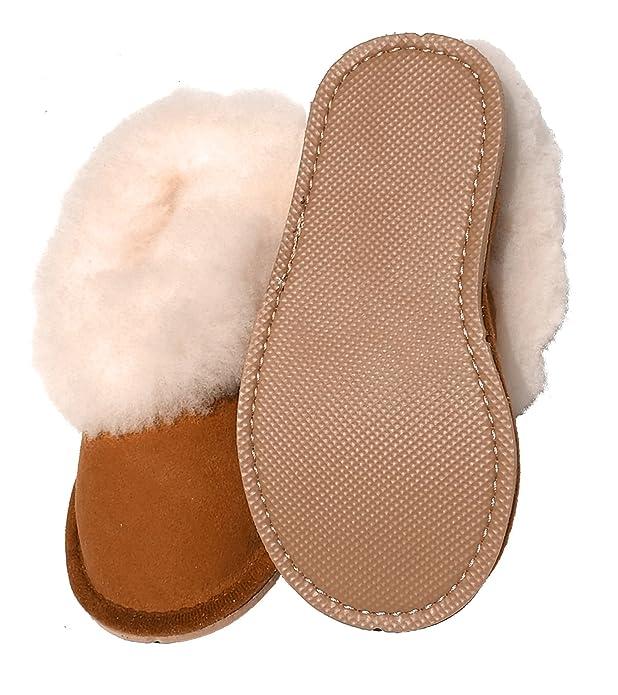 04111fff64d84 chaussons enfants garçons camel fourrés peau de mouton - tannage naturel   Amazon.fr  Chaussures et Sacs