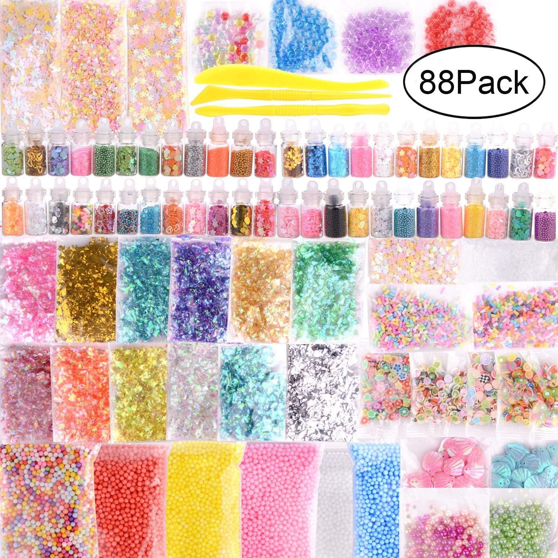 Paquete de 88 unidades de accesorios delgados, abalorios y cristal transparente delgado que incluyen tarros con purpurina, papel de azúcar cuentas de peces, caramelos, herramientas delgadas
