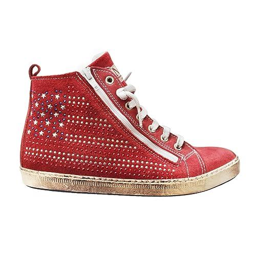 Zapatillas Deportivas Sneakers para Mujeres de Gamuza Rojo con Tacos y Forro de Cuero Talla 40: Amazon.es: Zapatos y complementos