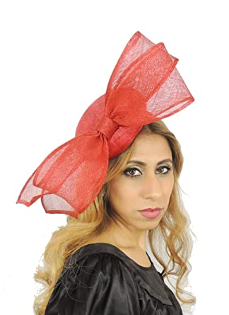 Beautiful June aby Pink Sinamay Bow Ascot Derby Fascinator Hat - with  Headband 32e07669a219