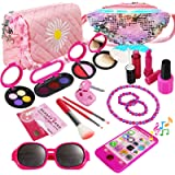 WTOR 22Pcs Kids Pretend Makeup Kit Pretend Play Girls Toys With 2 Cosmetic Bags Beauty Set with Eyeshadow Blush Lipstick…