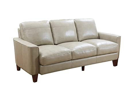 Amazon.com: Oliver Pierce OP0365 Landon Leather Sofa Grey ...