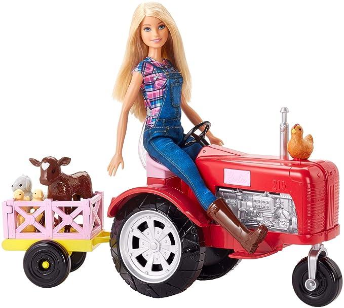 Barbie Quier Ser granjera, muñeca con accesorios, tractor y animales (Mattel FRM18): Amazon.es: Juguetes y juegos