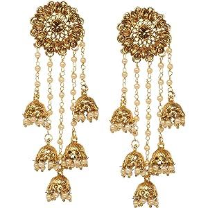 edf5d8043 Bindhani Fashion Bollywood Jewellery Traditional Ethnic Bridal Bride Wedding  Bridesmaid Gold Plated Kundan Long Faux Pearl