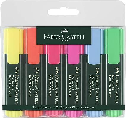 Faber-Castell 154806 - Estuche con 6 marcadores textliner, varios colores: Amazon.es: Oficina y papelería
