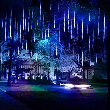 Weanas Shower Rain Lights Outdoor Christmas String Lights Drop Icicle Snow Falling Raindrop 11 7inch 8 Tubes Cascading Fairy Lights For Wedding Xmas