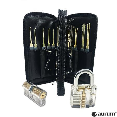 Aurum Original Lock Picking Set With 2u0026nbsp;locks For Practice + PDF  Instructions (English