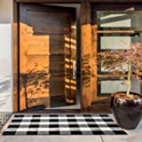 NANTA Cotton Buffalo Plaid Check Rug 27.5 x 43 Inches Washable Woven Outdoor Rugs for Layered Door Mats Porch/Kitchen/Farmhouse Black and White