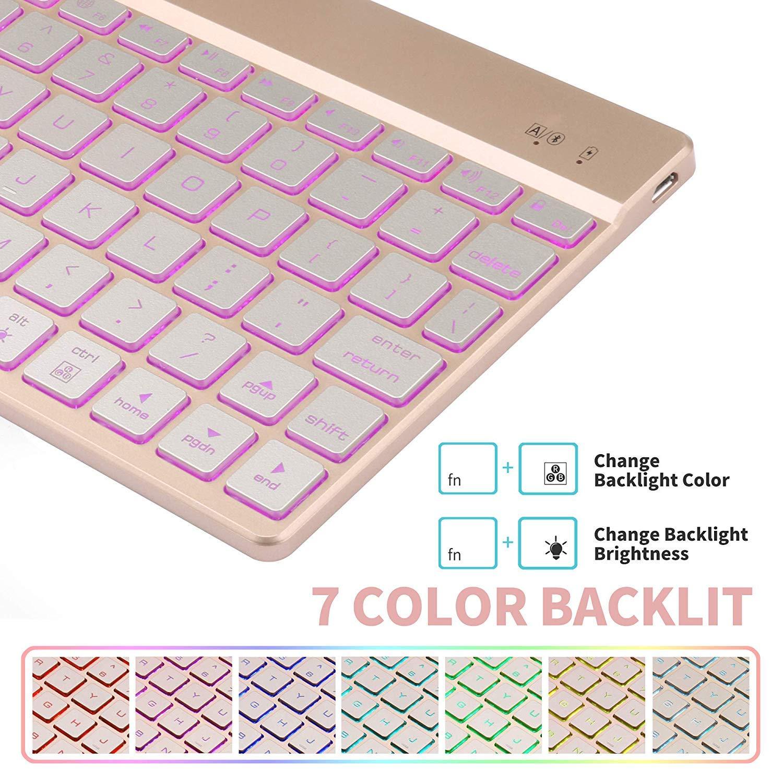 Keyboard Case iPad 9.7 2018(6th Gen) - iPad 9.7 2017(5th Gen) - iPad Air 2&1 - iPad Pro 9.7-7 Colors Backlit Detachable Keyboard - PU Leather Stand - iPad Keyboard Case, (Rose Gold, 9,7)