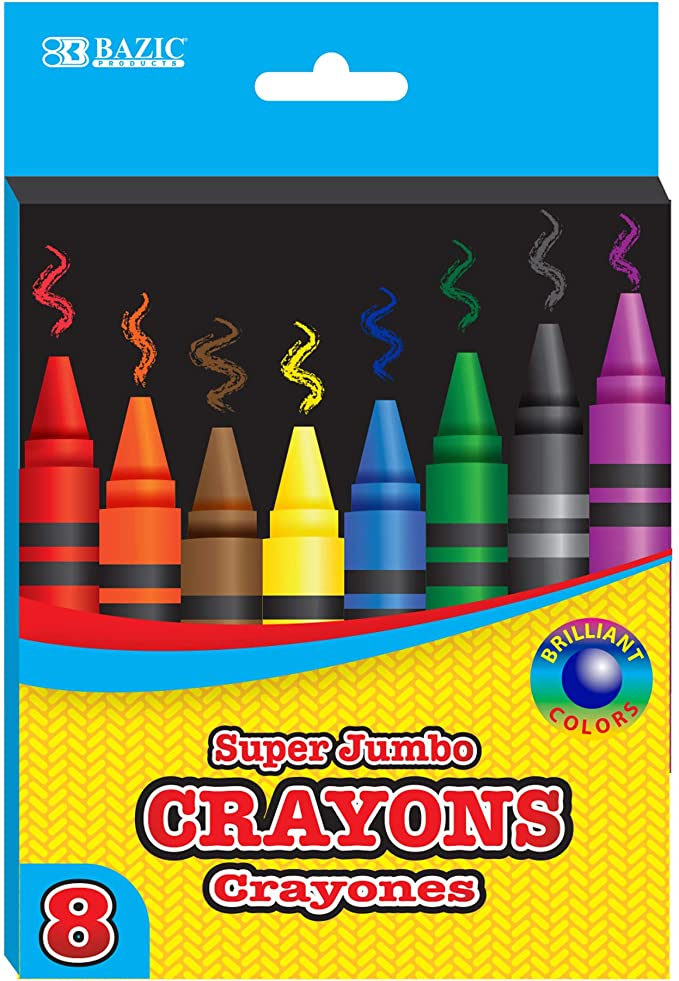 24-Pack School Art Gift for Kids Age 3+ BAZIC 12 Color Premium Jumbo Crayons Assorted Washable Coloring Set