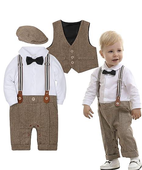 a13206551ba19 ZOEREA Baby Boy Outfits Set, 3pcs Long Sleeves Gentleman Jumpsuit & Vest  Coat & Berets Hat with Bow Tie
