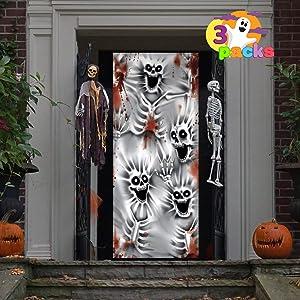 JOYIN 3 Pcs Scary Skeleton Scary Skeleton Door Cover 3D Design 30'' x 72'' for Halloween Skeleton Door, Window and Wall Cover Indoor Outdoor Decoration