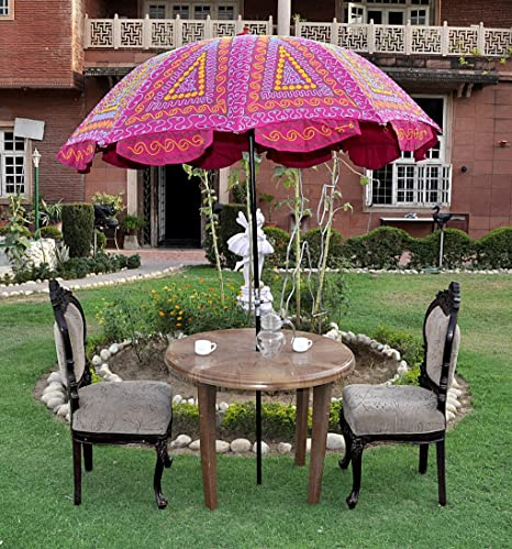Lalhaveli Ethnic Embroidered Patio Umbrella For Wedding 52 X 72 Inches