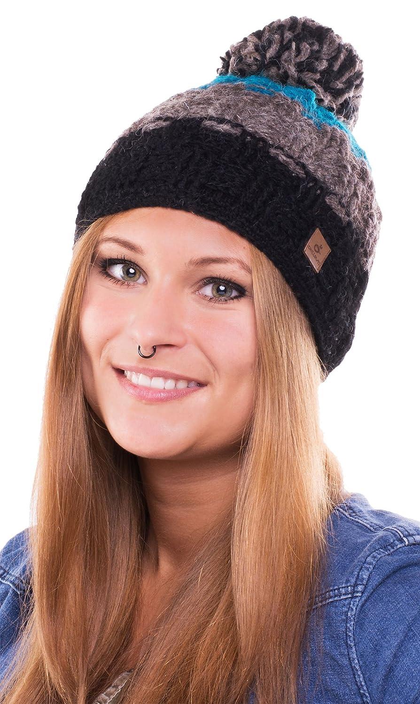 Caspar Hat - bonnet tendance tricoté avec pompon pour femmes ou également homme - fait main au Népal - 2013-14, bonnet tricoté avec polaire intérieure chapeau bobble (turquoise / noir) Feinzwirn