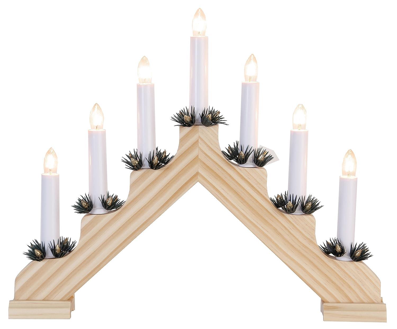 Star, Candelabro decorativoAda, 7 luci, in legno, lampadine trasparenti, 30 x 38 cm, Marrone, 286-10
