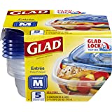 Glad Medium Square Food Storage Containers, (25 Oz) -5 Count, Standard
