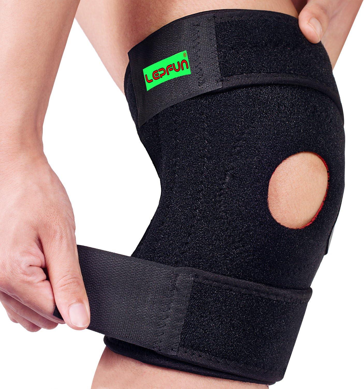 Lepfun S5200 Profesionales Rodillera de Neopreno Apoyo de la Rodilla Totalmente Ajustable Alivio Seco Transpirable Abierto Rótula Dolor en la Rodilla del Menisco, la Artritis y la ACL, Fú