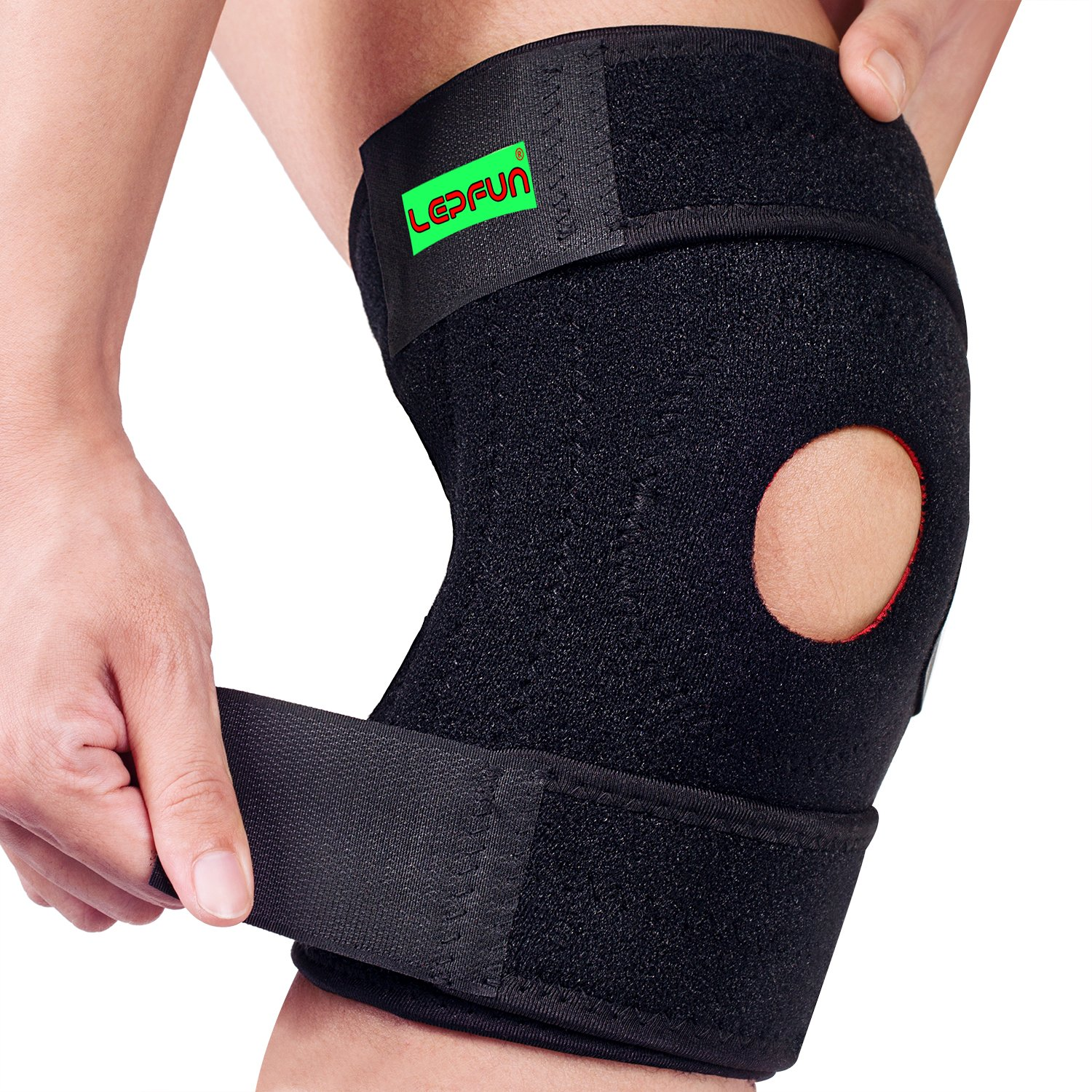 f4bbeb5e46 Lepfun S5200 Knee Brace Support with Open Patella Protector Wrap and  Lateral Stabilizers for Hiking,Basketball, Arthritis, Joint Pain, Meniscus  Tear and ...