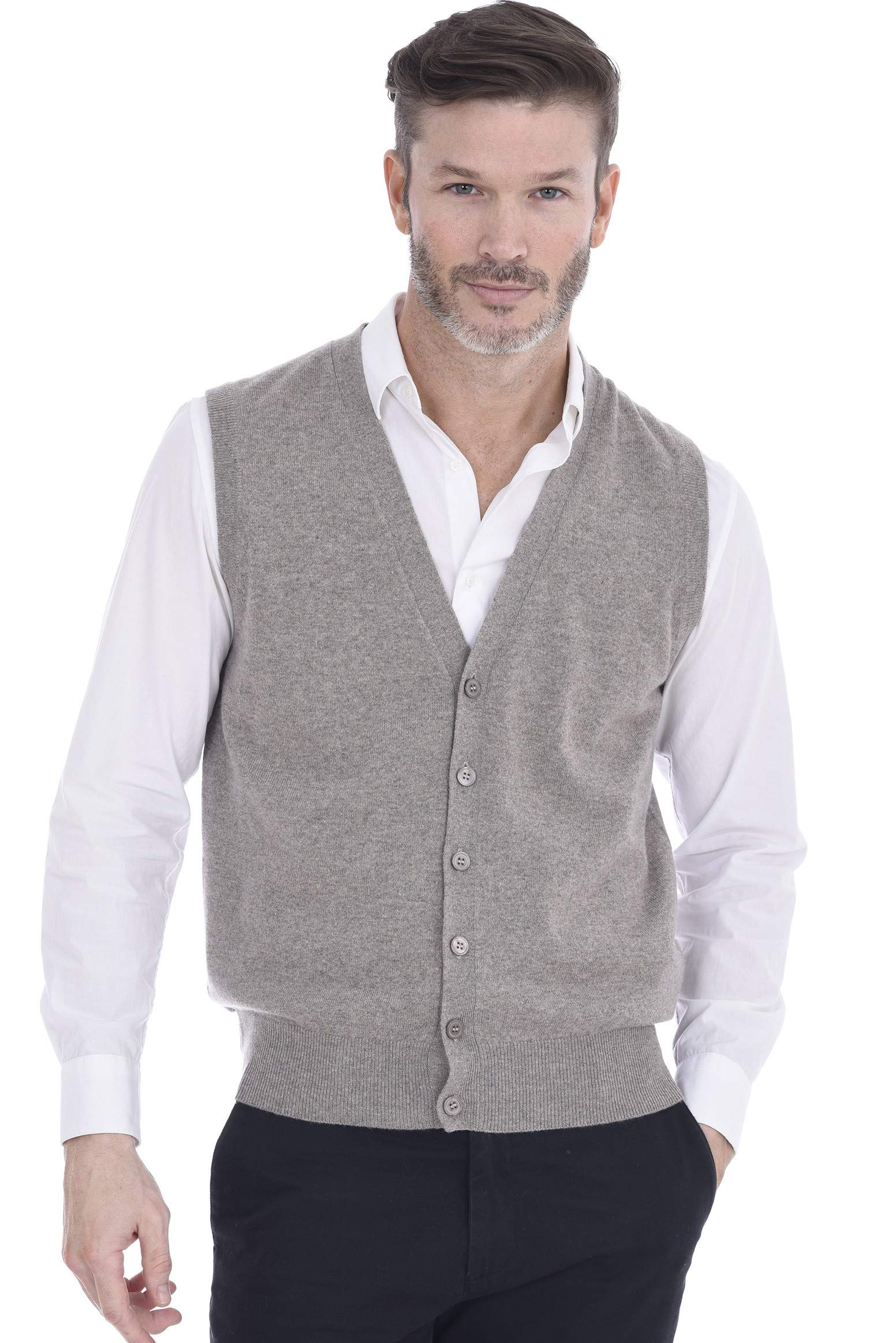 Cashmeren Button Down Vest Cable Knit 100% Pure Cashmere V-Neck Sleeveless Cardigan for Men (Small,Winter Twig) by Cashmeren