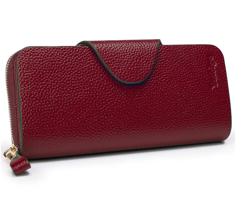 78e257efef0 Galleon - Yafeige Large Luxury Women's RFID Blocking Tri-fold Leather  Wallet Zipper Ladies Clutch Purse(2-pebbled Dark Red)