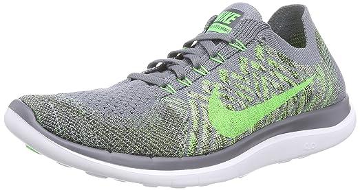 Nike Mens Free 4.0 Flyknit Running Shoes-Cool Grey/Green Strike-11.5