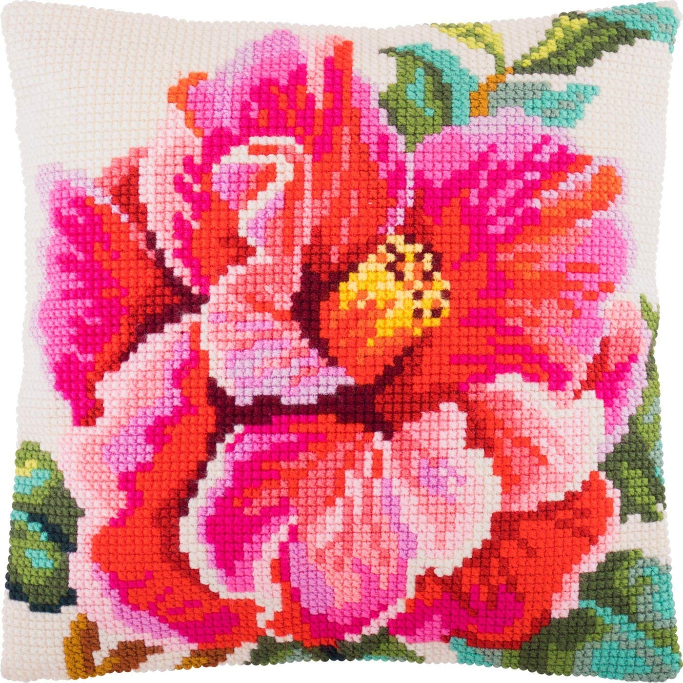 """Needlepoint//Tapestry Pillow Cover DIY Kit /""""Red Flowers/"""""""