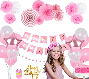 Amazon.com: Decoraciones de cumpleaños rosas para niñas ...