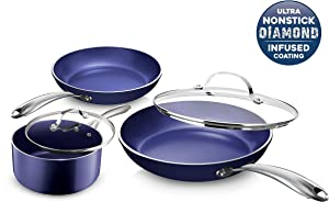 Granite Stone Diamond 7072 Granite Stone Classic Blue Pots and Pans Set with Ultra Nonstick Durable Mineral & Diamond Triple Coated Surface, Stainless Steel Stay Cool Handles, 5 Piece Cookware