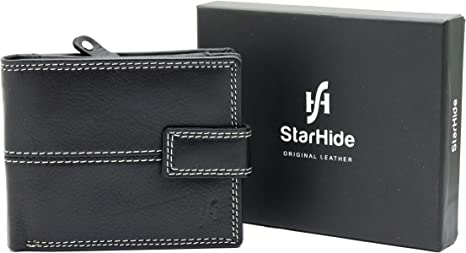 Id Card Window 1044 StarHide Mens Black Nappa Leather RFID Blocking Wallet With A Secure Zipped Coin Pocket Boxed Black