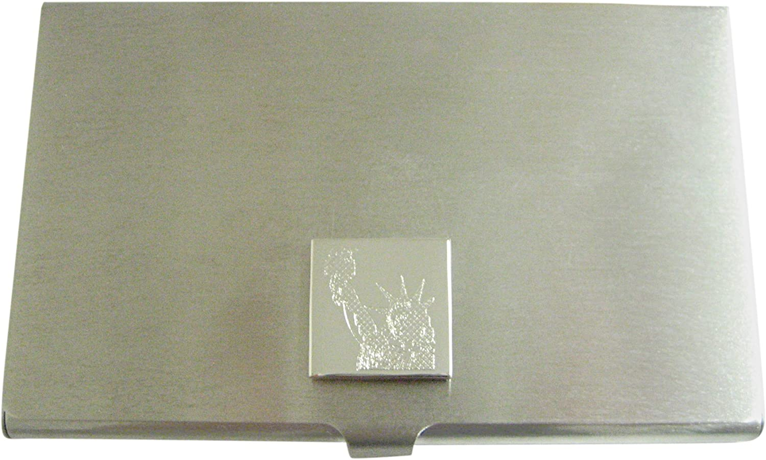 Silver Toned Etched Iconic Statue of Liberty Business Card Holder