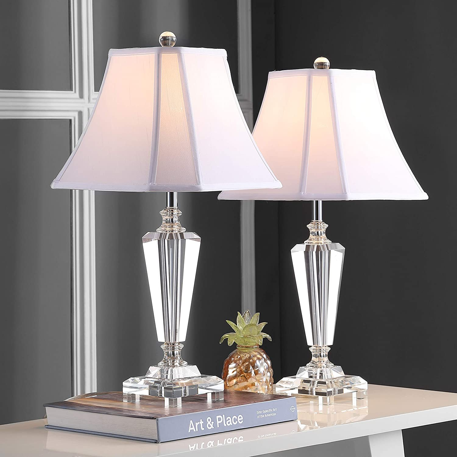 Safavieh Lit4103b Set2 Lighting Collection Lilly 24 5 Crystal Clear