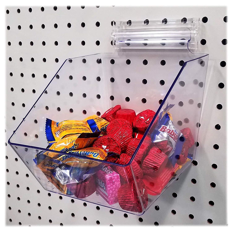 Clear Pegboard Acrylic Dump Bin, 6'' L x 5.5'' H x 7.5'' D - Small Bin, 1 Unit