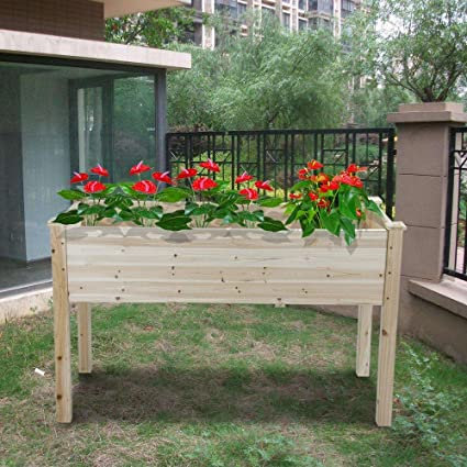 Yaheetech Solid Wood Raised Patio Garden Flower Plant Planter Raised  Elevated Garden Bed