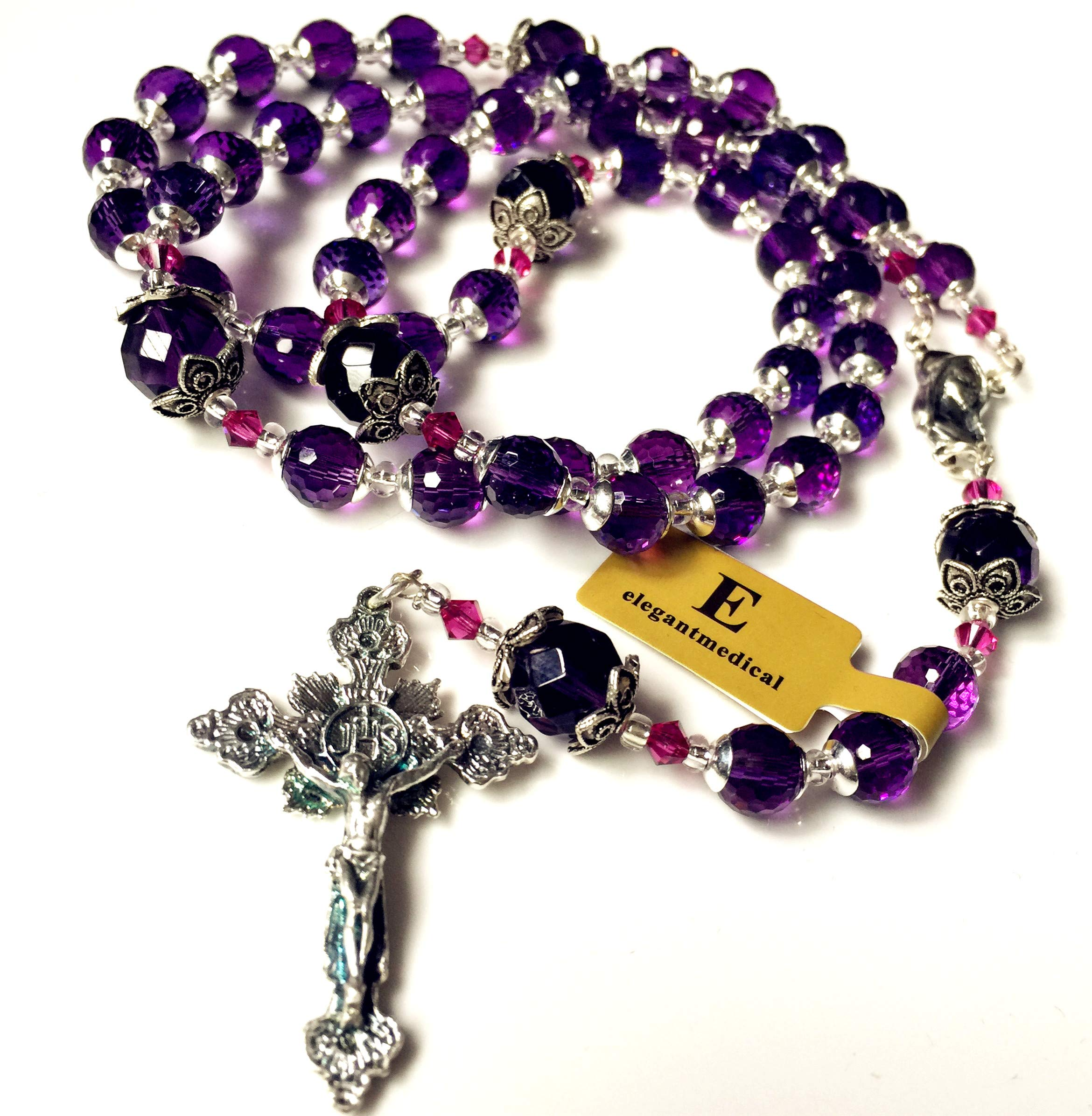 elegantmedical Handmade 925 Sterling Silver Purple Amethyst Beads Catholic Necklace Rosary Cross & Gift Box
