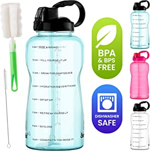 1 Gallon Water Bottle with Straw -128 Oz Water Jug with Time Marker, Hourly Tracker Motivational Phrases, 2 Brushes Leak-Proof, Dishwasher Safe, BPA & BPS-Free Measuring Bottles by Energybud, Blue