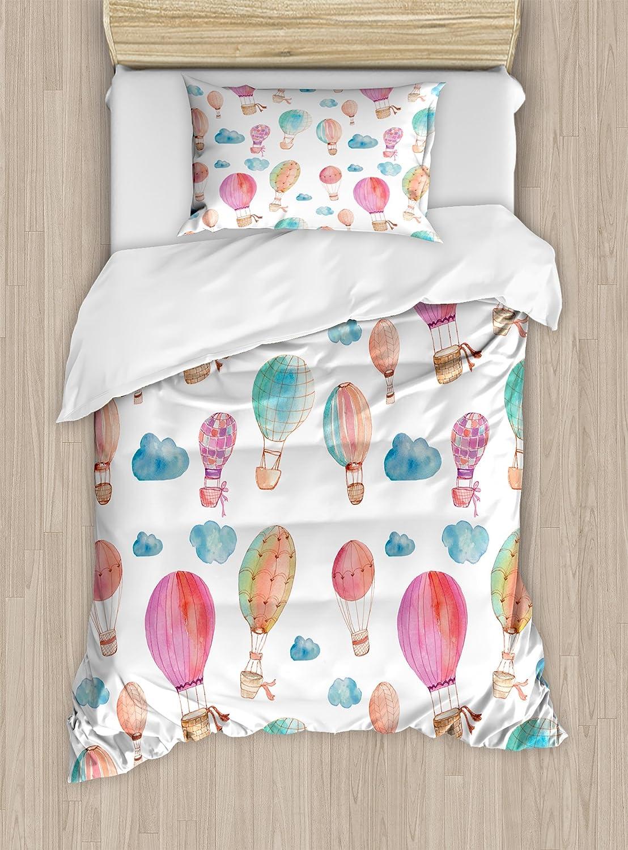Balloons nev_41433_twin XL|マルチ1 TWIN XL TWIN B0765ZCWS6 / TWIN / withブルー雲、装飾寝具セット枕、ブルーピンクコーラル TWIN / TWIN Ambesonne、手描きスタイルのセットキュートフローティングホットAir マルチ1 TWIN XL 水彩布団カバーセットby
