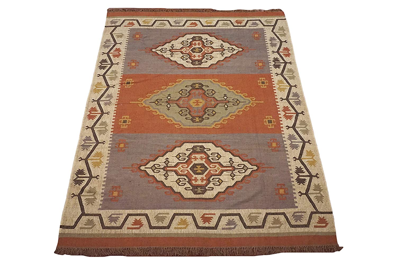 Amazon Com 9x12 Jute Kilim Hand Knotted Wool Area Rug Oriental