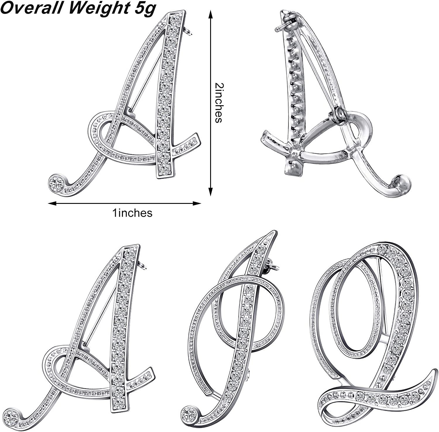 Hicarer 3 Pieces Women Initial Letters Brooch Pin A Q I Letter Charms Rhinestone Brooch Pin Shiny Crystal Collar Badge Pin