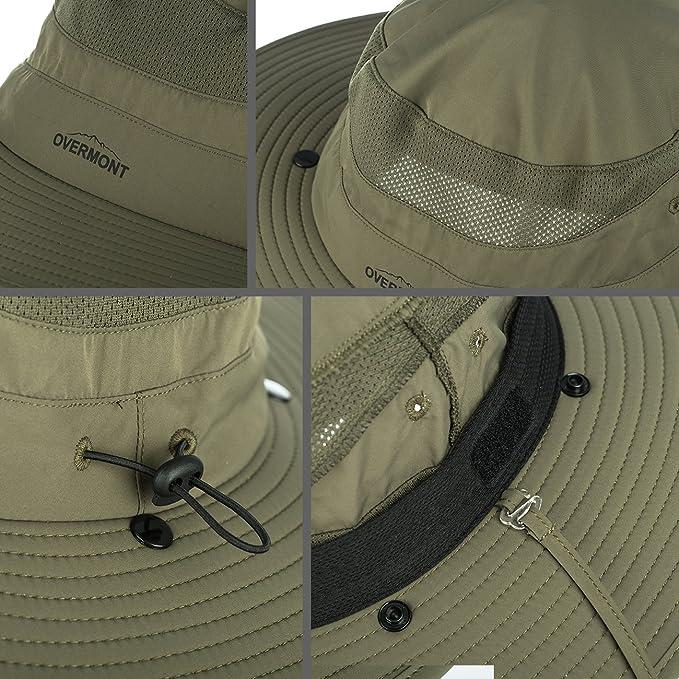 Overmont unisex Sombrero Gorra anti-UV con Visera Transpirable con Ala y mascara extraíble protege cuello cara de verano protección solar para camping, ...