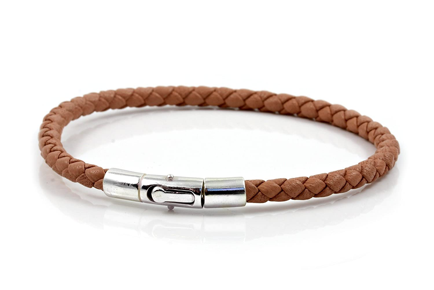 Mens/ladies Braided Nappa Leather & Sterling Silver Bracelet by ...