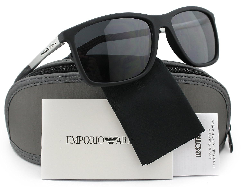 cf61dacd980 Amazon.com  Emporio Armani EA4058 Men Polarized Sunglasses Black Rubber  w Crystal Grey (5063 81) EA 4058 506381 58mm Authentic  Clothing