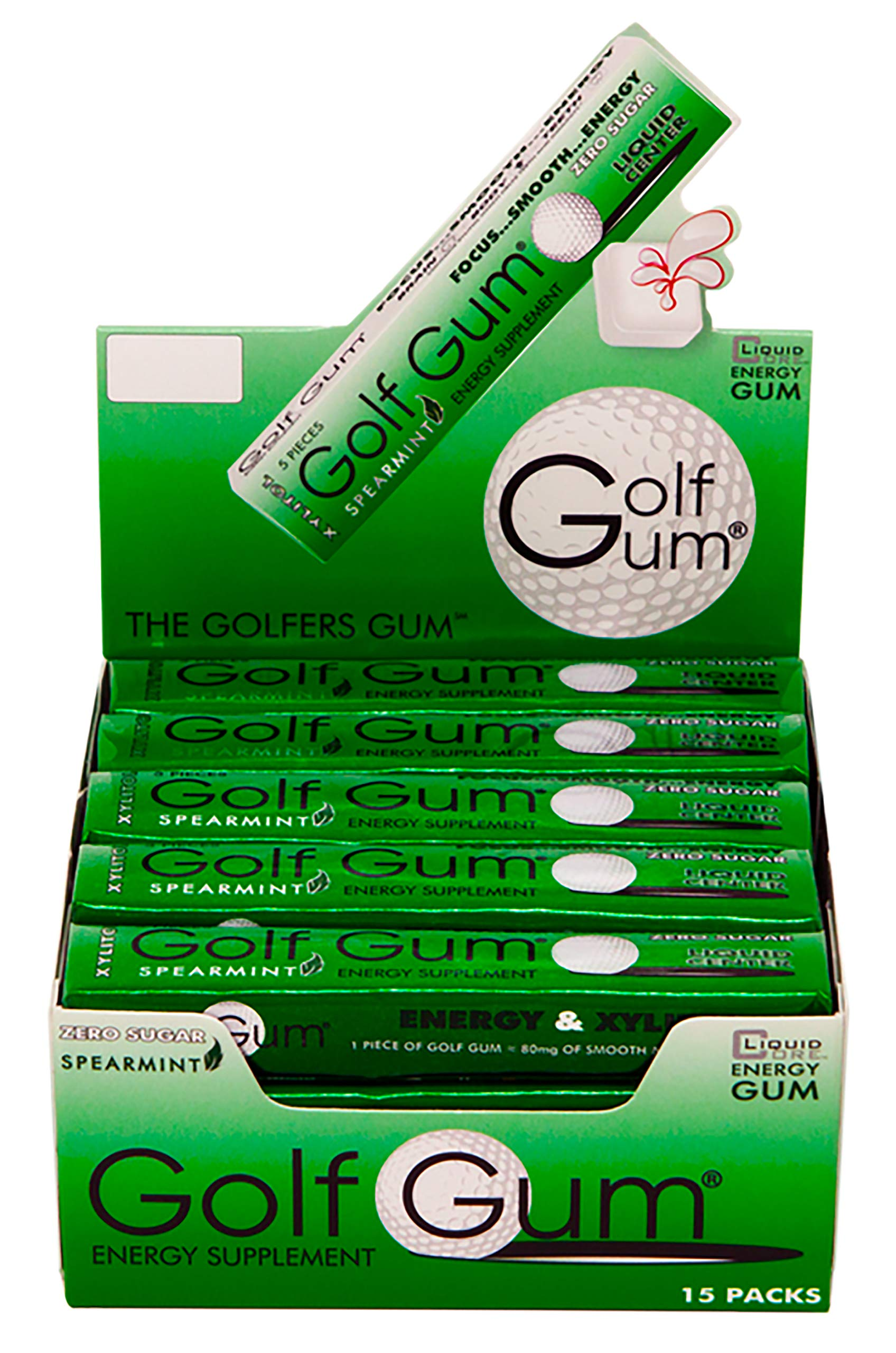 Golf Gum - The Golfers Gum - Liquid Core Xylitol Gum - Sugar-Free, Aspartame-Free, Caffeinated Gum - Spearmint - 5 Pieces of Gum Per Pack (15 Pack)