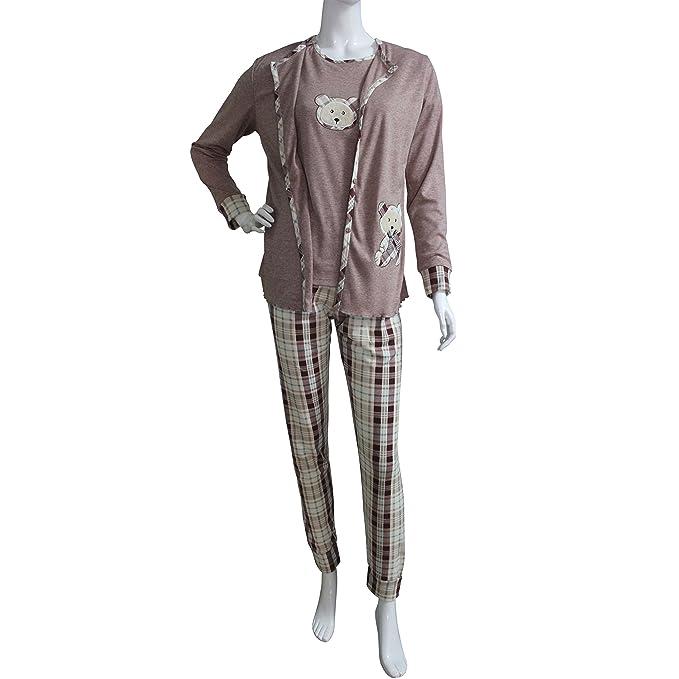 FERETI (XL) Pijama Mujer Tres Piezas Rosa Beige Osos Otoño Oso Animales Invierno Flanelado