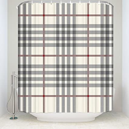 Amazon OneHoney Custom Beige Red Black Plaid Pattern Bathroom