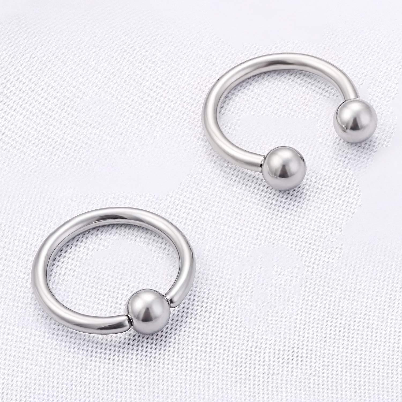 Kridzisw 24PCS 12G Surgical Steel Horseshoe Captive Bead Nose Hoop Ring Septum Eyebrow Lip Nipple Tongue Belly Hoop Rings Piercing Jewelry for Women Men 10mm 12mm 14mm 16mm