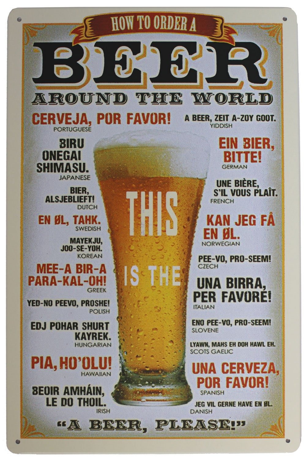 How to Order a Beer Around the World Metal tin Sign 8 X 12 for Home & Bar&Coffee Decoration