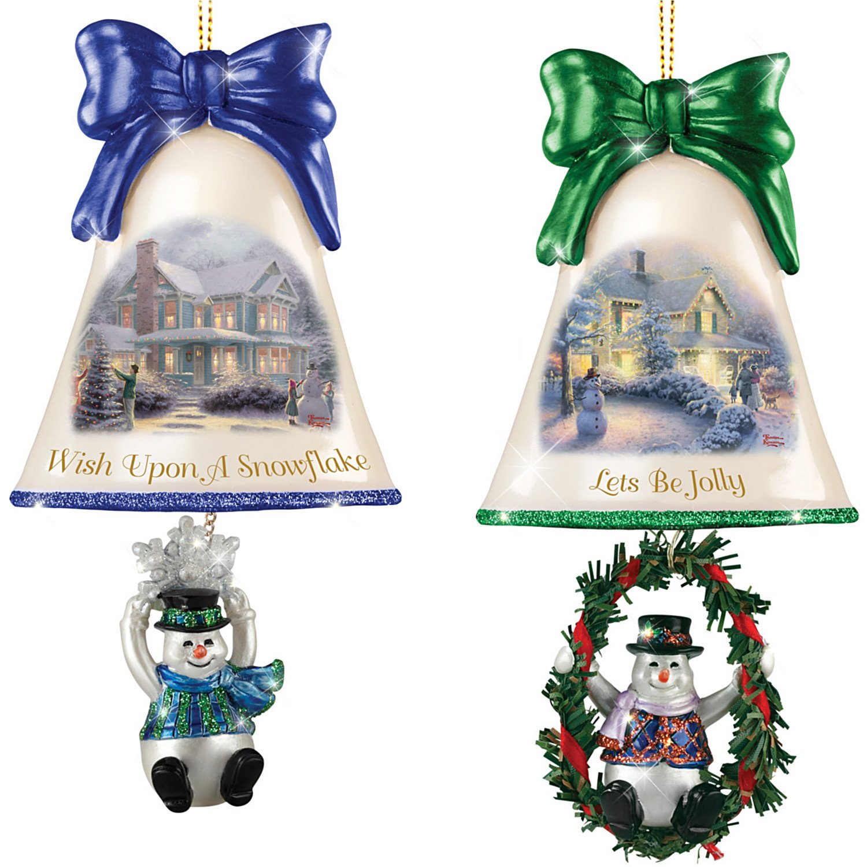 Christmas Ornaments: Thomas Kinkade Ringing In The Holidays Ornament Set: Set 4 by The Bradford Exchange